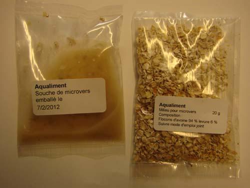 es microvers sont livrés dans 2 sachets, la souche et le milieu de reproduction.
